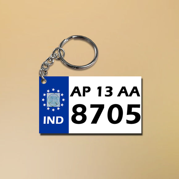 Buy & Send Personalised Vehicle Number Plate Keychain Online in India | Zestpics