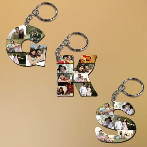 Buy/ Send Personalized Alphabet Photo Key Ring | Alphabet Keychain India