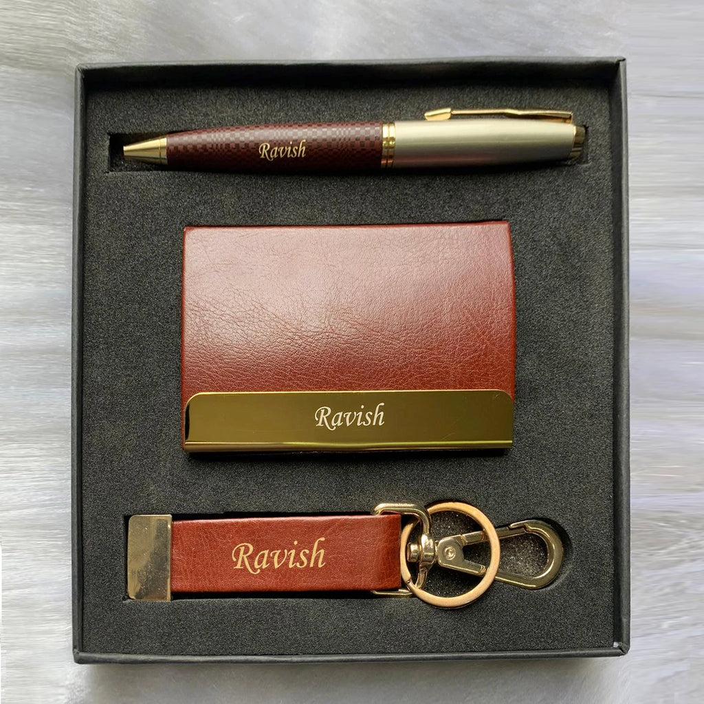 Mens Gift Set | Leather Mens Card Holder, Pen, Keychain | Zestpics