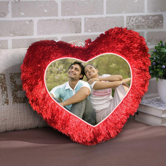Valentines gifts for her, Buy personalised heart shaped cushion | Buy custom photo heart pillow online