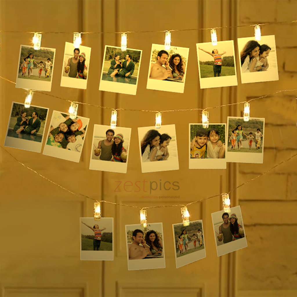 Polaroid Prints with Fairy Lights | Polaroid Prints with LED Photo Clips | Zestpics |  polaroid hanging clips, photo string, photo clips, polaroid hanging, polaroid display frame, polaroid string lights