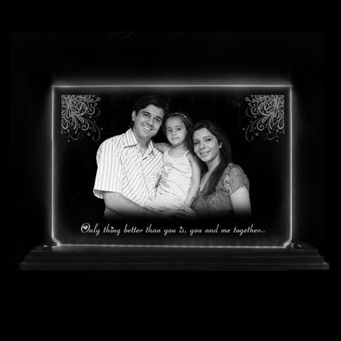 Personalized Gift for Every Occasion. Your photo and message will be engraved on transparent acrylic that looks like a glass and you can gift it to your loved ones on birthday or anniversary