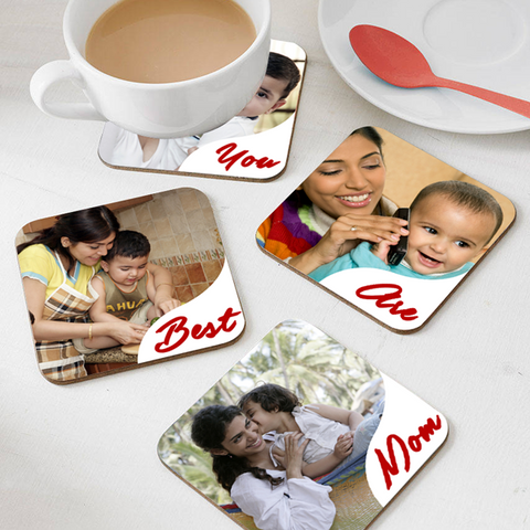 Mom Coasters, Custom Coasters, Personalized Photo Tea/ Coffee Coasters