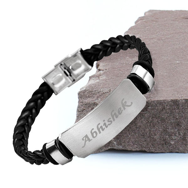 Name Engraved Men's Bracelet | Personalized Bracelets for Him, Custom Bracelets for Men