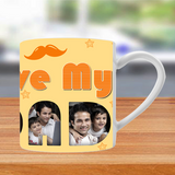 These coffee mugs can be personalized for your dad with his photos, name. coffee mug, tea cup, travel mug for his various needs and are an ideal gift for father.
