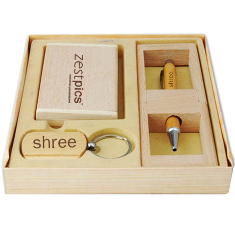 Corporate Customize Wooden Gift Set with Pen, Keychain & Card holder