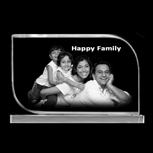 Buy 15x10x1.2 Rectangle 2D Crystal | Happy Family 2D Photo Crystal online at Zestpics|India