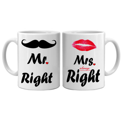 Mr Right & Mrs always Right Couple Mug, Buy Anniversary Gifts Online, Valentine Gifts