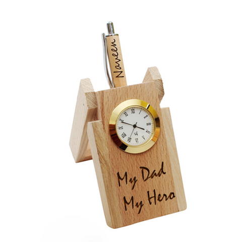 My Dad Clock with Pen Stand | Dad Table Top Wooden Pen Stand | Zestpics