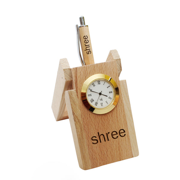 Wooden Pen Stand with Clock, Personalized Name Engraved Pens -Zestpics