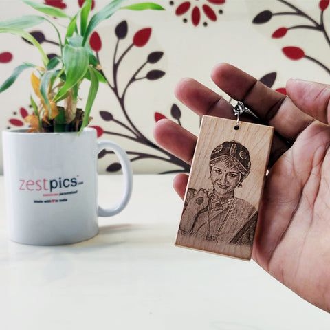 Rectangle Wooden Keychain