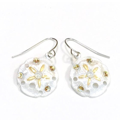 Sand Dollar Earrings - Hand Painted - White with Gold Accents
