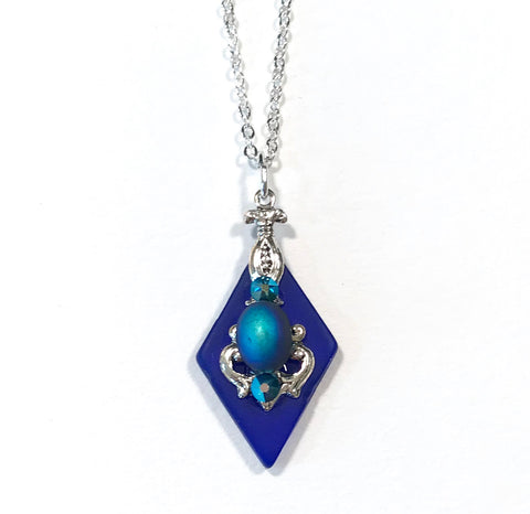 Cobalt Blue Necklace - 18 inch Chain