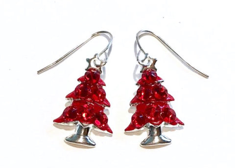 Red christmas tree earrings with coordinating sparkling crystals