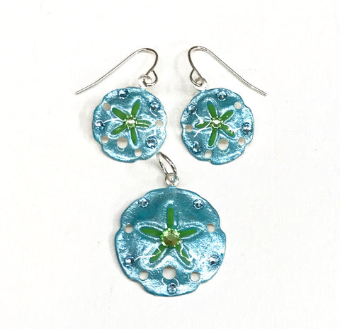 Sand Dollar Earrings and Pendant Set Aqua