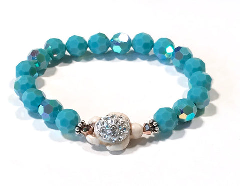 Turtle Bracelet - Stretch - Crystal Accents