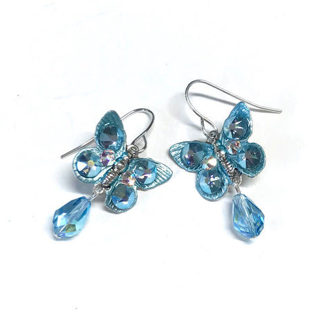 Butterfly Earrings Aquamarine Crystal