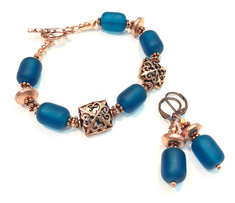 Teal Matte Glass and Copper Bracelet and Earrings Set - Hurstjewelry