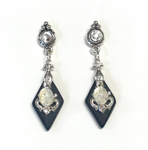 Black Glass Earrings - White Glass Opal - Crystal Post - Stained Glass