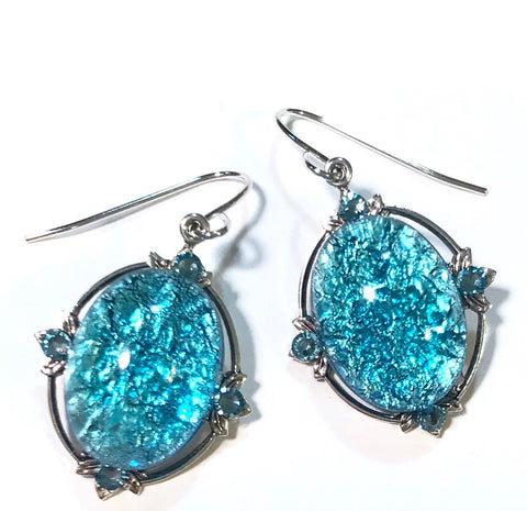 Aqua Glass Opal Earrings- Crystal Accents