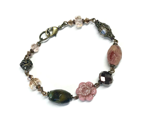 Pink Wild Rose Flower Bracelet - Antiqued Brass