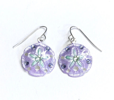 Sand Dollar Earrings - Hand Painted - Light Purple and Mint Green