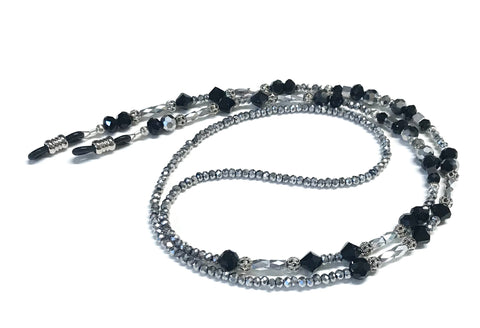 Eyeglass Chain or Holder - Metallic Silver with Black