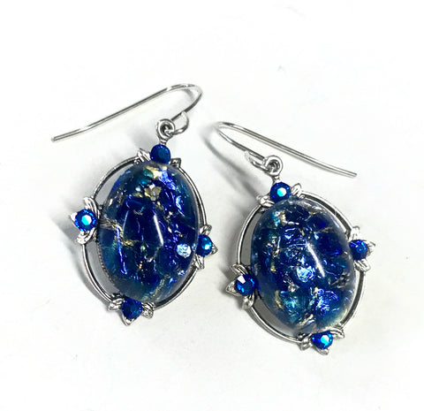 Royal Blue Glass Opal Earrings- Crystal Accents
