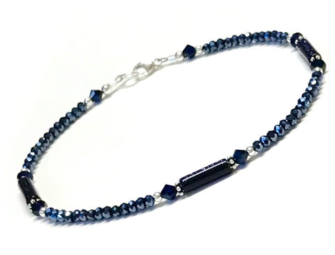 Midnight blue color anklet with sterling silver 9 to 12 inches available