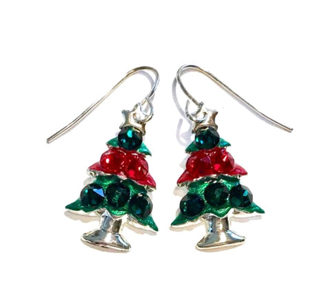 Red and green christmas tree earrings with coordinating crystal accents