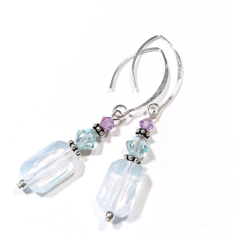 White Opal Crystal Earrings - Sterling Silver