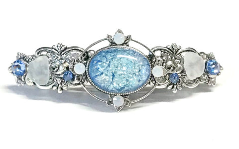 Light Denim Blue Glass Opal Hair Barrette