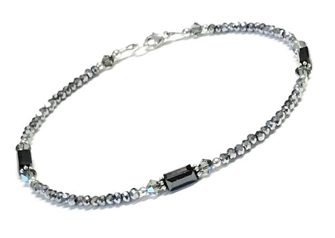 Metallic gray crystal ankle bracelet