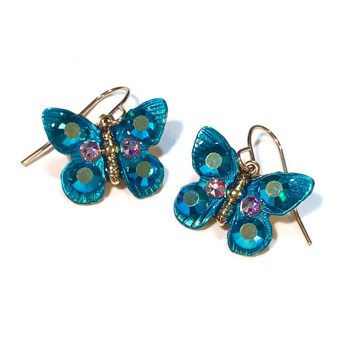 Butterfly Earrings - Blue Zircon AB Crystal - Teal - Butterfly Jewelry