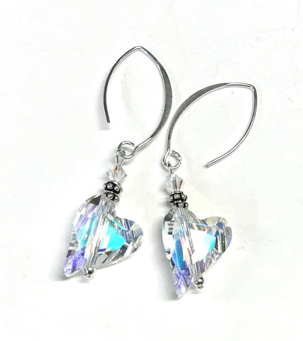 Crystal Heart Earrings - Sterling Silver - Crystal AB