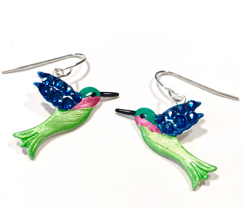 Hummingbird  Earrings - Crystal Wings - Nature Jewelry