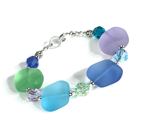 Beachy Bracelet - Glass and Crystal - Sterling Silver