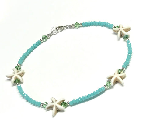 Starfish Ankle Bracelet - Seafoam - Sterling Silver - Anklet for Women - Beach Anklet