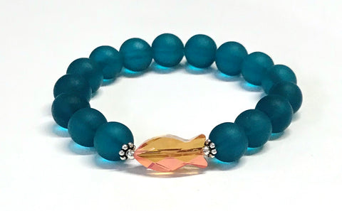 Crystal Fish and Teal Matte Glass Stretch Bracelet
