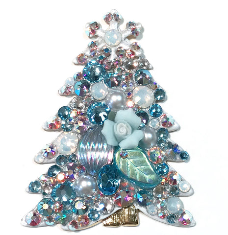 Christmas Tree Pin - Aqua  - OOAK - Signed