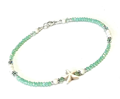 Light Green Starfish Ankle Bracelet - Beach Anklet - Sterling Silver  - Coastal Anklet