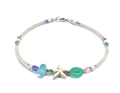 Pastel Starfish Anklet - Starfish Ankle Bracelet - Sterling Silver 9 to 12 inch Available
