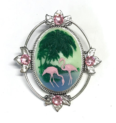 Flamingo and Palm Tree Cameo Brooch with Crystal Accents