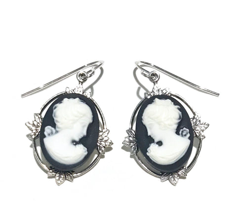 Black and White Cameo Earrings