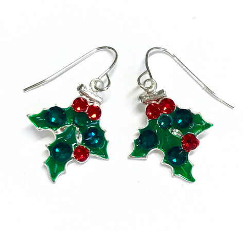 Holly earrings for Christmas. accented with Swarovski crystals and sterling silver ear wires