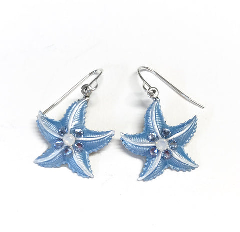 Starfish Earrings - Hand Painted Light Blue