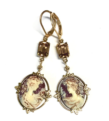Victorian Lady Cameo Earrings