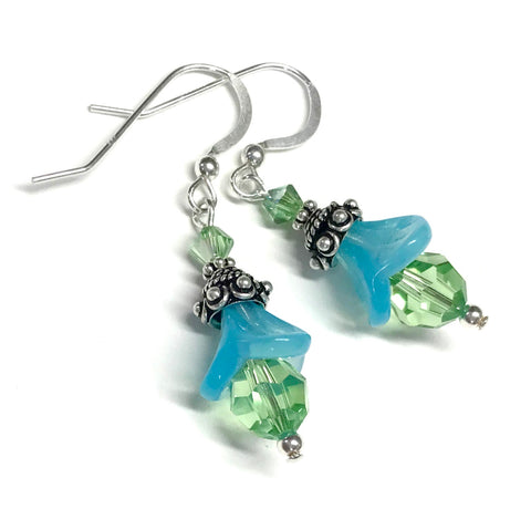 Peridot crystal and aqua opalescent glass bead earrings with sterling silver