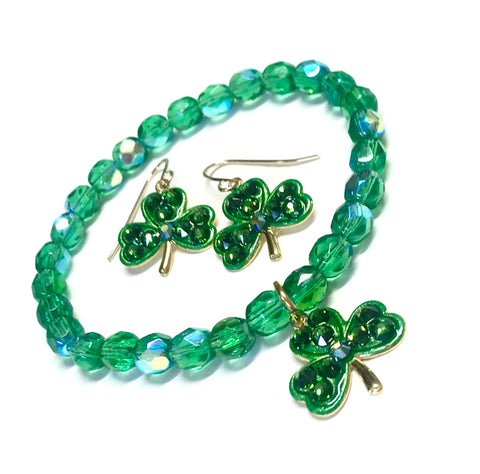 Shamrock Bracelet and Earrings - St Patty's Jewelry