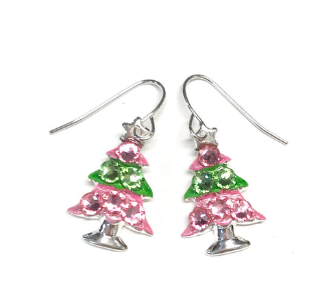pink and green christmas tree earrings with sparkling crystals